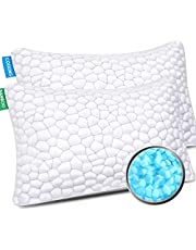 Bamboo Pillow Cooling Bed Pillows for Sleeping 2 Pack Adjustable Bed Pillow Gel Shredded Memory Foam Pillow with Hypoallergenic Bamboo Cover & Adjustable Loft …