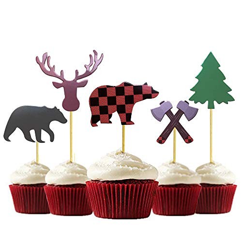 30-Pack Lumberjack Cupcake Toppers, Buffalo Plaid Baby Bear Tree Cupcake Topper for Campfire Lumberjack Party Supplies Baby Shower Dcoration. ()