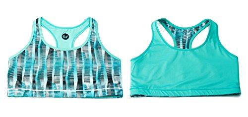 GARVIRP Women's Reversible Sports Bra Medium Impact Bra Running Top S Stripe