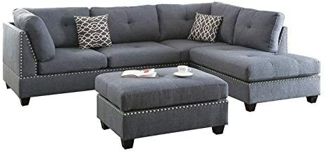 Bold and Beautiful 3-Piece Sectional Sofa Grey w/Silver Studs