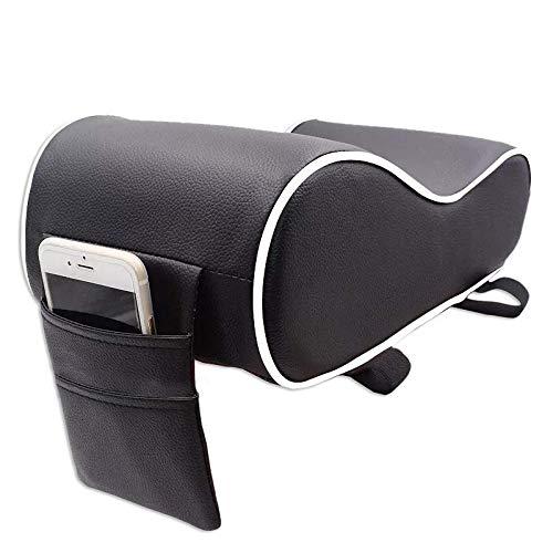 Autofurnish Premium Car PU Leather Memory Foam Center Console Armrest with Pocket Fits All Cars Armrest  Black White