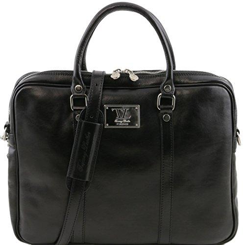 Tuscany Leather Prato Elegante porta folios y porta ordenador portátil en piel Marrón oscuro Porta ordenador en piel Negro