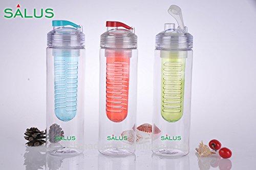 SALUS Infusion Water Bottle, Tritan Fruit Infuser for Naturally Flavored Fresh Drinking Water, Multi-Purpose Flip-top BPA-FREE, 25 Oz, Aqua