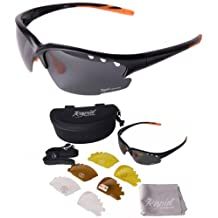 Mens & Womens Fusion Black POLARIZED CYCLING SUNGLASSES With Interchangeables