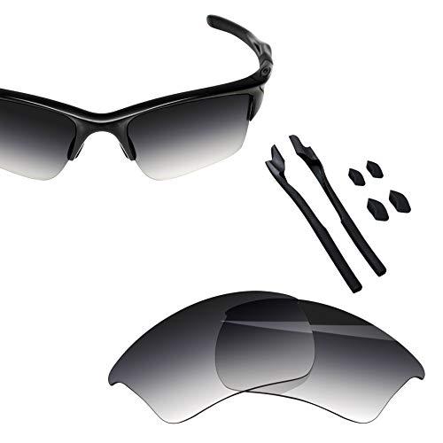 BlazerBuck Anti-salt Polarized Replacement Lenses & Sock Kit for Oakley Half Jacket 2.0 XL OO9154 - Grey Gradient