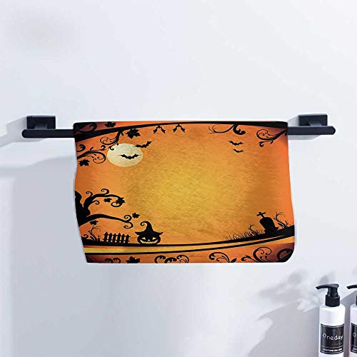 Vintage Halloween Hand Towel Halloween Themed Image Eerie Atmosphere Gravestone Evil Pumpkin Moon for Family Guest Bathrooms Gym W23 x L8 Orange Black