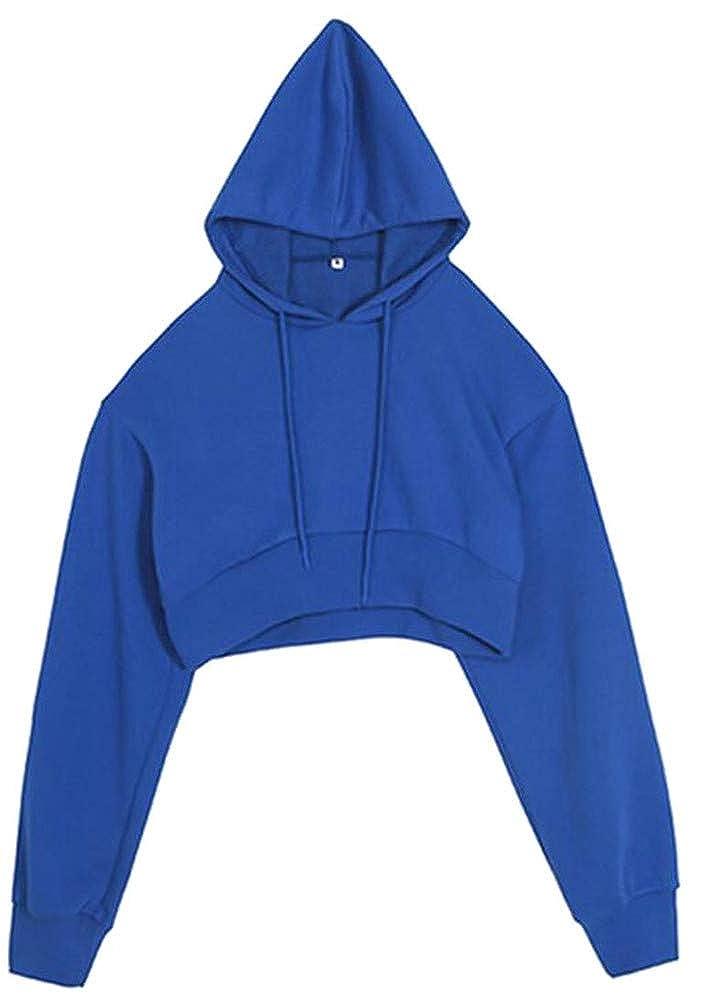 Pandapang Womens Solid Long Sleeve Drawstring Crop Pullover Hooded Sweatshirts