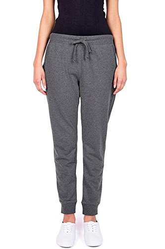 Ambiance Women's Juniors Soft Jogger Pants, Charcoal Grey, Small ()