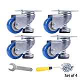 ''SPACECARE 4 Pack of 1.4'''' Swivel Caster Blue Polyurethane Wheels Base with Top Plate and Height Adjustable Base 200lb Each (4)''