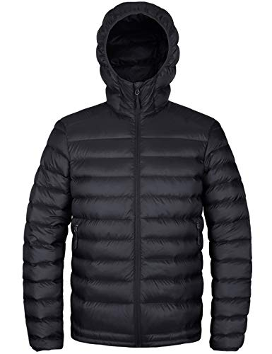 HARD LAND Men's Hooded Packable Down Jacket Lightweight Insulated Winter Puffer Coat Outdoor Black Size L