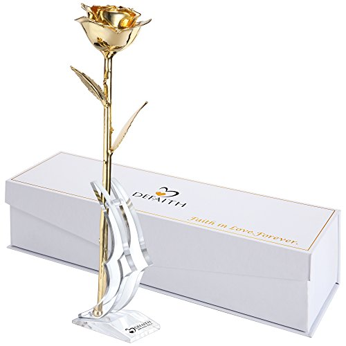 Gold Everlasting Rose, DEFAITH 24K Gold Dipped Long Stem Rose with Moon-shape Stand. Last a Lifetime. Great 50th Anniversary Gift (50th Birthday Gifts For Wife)