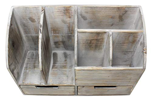 Vintage Rustic Wooden Office Desk Organizer & Book Shelf for Desktop, Tabletop, or Counter - Distressed Torched Wood – for Office Supplies, Desk Accessories, or Mail by Executive Office Solutions (Image #7)