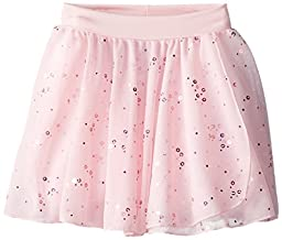 Capezio Little Girls\' Pull-On Sequined Skirt, Pink, Intermediate (6-8)