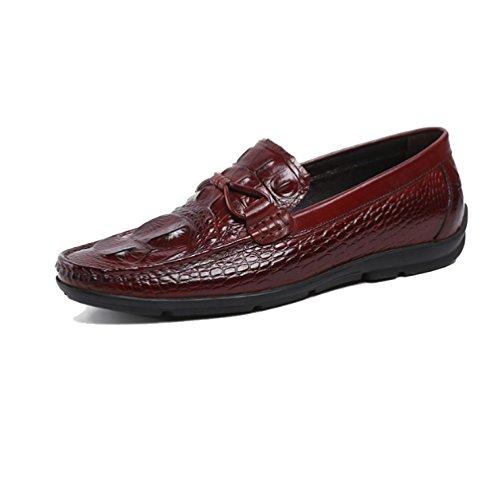 Oxford Shoes Uomo Primavera Britannico Casuale Traspirante All'aperto Scarpe Pigre Moda Comodo Scarpe di Cuoio Winered