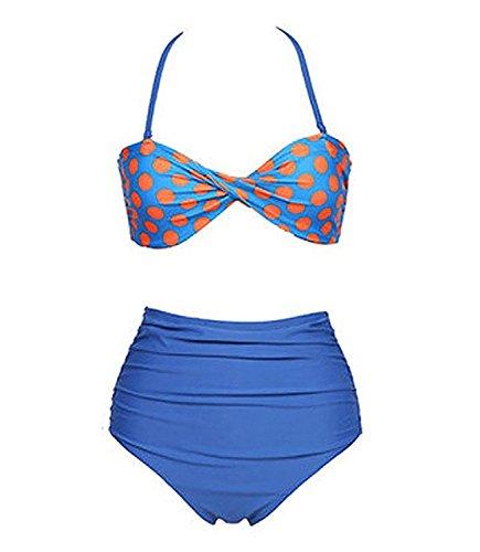 Colorful Summer Nice Retro Swimsuit Swimwear Vintage Bikini Set Z-Blues=US XS