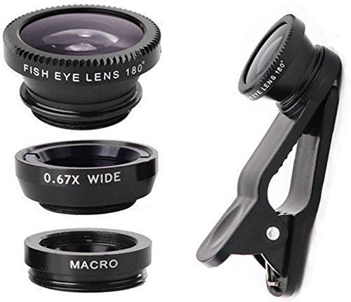 TEQNEQ Mobile Camera Macro Lens and Wide Angle Lens and Fisheye Lens Clip-on Cell Phone Camera Lens for Smartphone