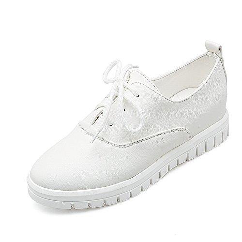 Balamasa Meisjes Bandage Ronde Neus Geïmiteerd Lederen Pumps-schoenen Wit