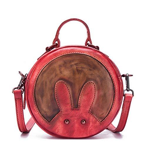 Bolso De Mujer Conejito Para color Con Gray Redondo Cuero Bandolera Ploekgda Red Bolsos HqYSwwd