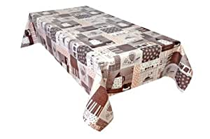 MG Oilcloth-Tablecloth Washable Moderno White - Brown ( 646-2 ) - 380 X 140 Cm