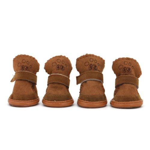 Wonpet Warm Cozy Soft Easy Wear Pet Dog Shoes Boots Coffee Size 1, My Pet Supplies
