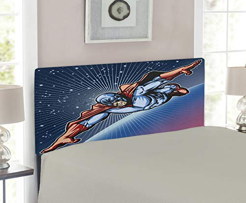 - Lunarable Superhero Headboard for Twin Size Bed, Brave Masked Hero Flying in Galaxy Mission Protecting The Universe Image, Upholstered Decorative Metal Headboard with Memory Foam, Violet Blue Red