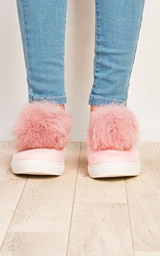 Pink Trainers Womens Aliana Suede Ikrush Faux Pompom wqfxgnwpW
