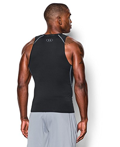 Under Armour Men's HeatGear Armour Compression Tank Top, Black /Steel, Large by Under Armour (Image #1)