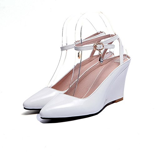 Pumps Leather White Buckles Womens Heels Metal High Shoes Studded Rhinestones Patent 1TO9 xzfOZwq88