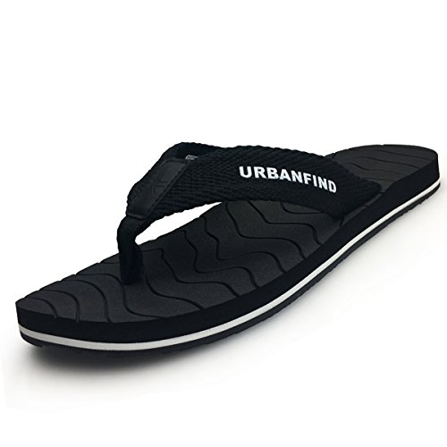 URBANFIND Men's Thongs Flip Flop Sandals Comfortable Athletic Arch Support Beach Shower Slippers Weave Black, 10 D(M) US by URBANFIND (Image #7)