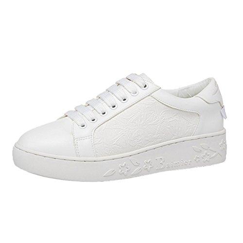 Caro Tempo Le Donne Allacciano Le Sneakers Di Moda Bianche