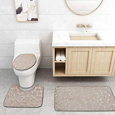 US 3Pcs Home Bathroom Set Rug Bath Mat Toilet Lid Cover Plain Solid Soft