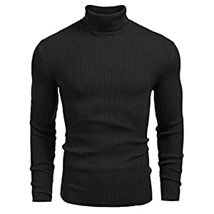 DENIMHOLIC Mens Ribbed Slim Fit Knitted Pullover Turtleneck Sweater