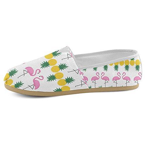 InterestPrint Frauen Loafers Klassische beiläufige Segeltuch-Beleg-auf Art- und Weise beschuht Turnschuhe-Ebenen Flamingo Ananas