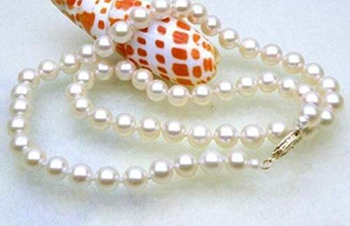FidgetKute AAA+ 6.5-7mm Round White akoya Pearls Necklace 14k