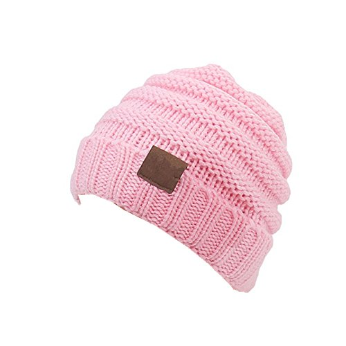 Aigemi Kids Baby Toddler Cable Ribbed Knit Children's Winter Hat Beanie Cap (Pink)