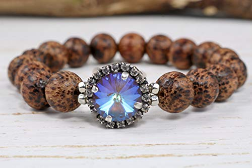 Coconut Coco Bracelets - Boho Bling Ultra Coco AB Stretch Bracelet Genuine 12mm Swarovski Crystal strung with 10mm coconut wood beads adding a touch of warmth to this piece. Bohemian Crystal and Wood Stretch Bracelet