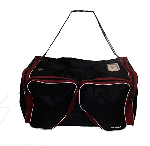 (JAMM Senior Vented Black and Maroon Hockey Bag with End & Skate Pockets)