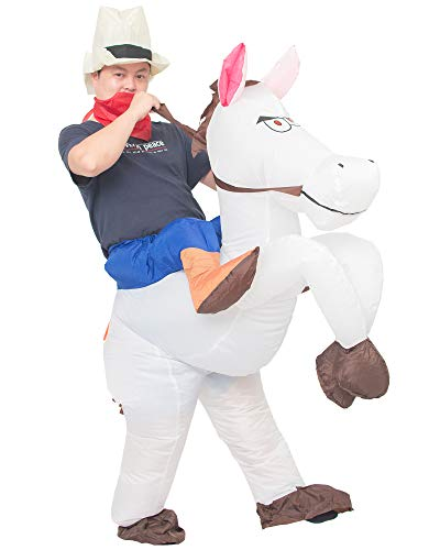 JYZCOS Inflatable Cowboy Costume Western Whit Horse Fancy Dress for Men Women Halloween Party Suit (Adult White) ()