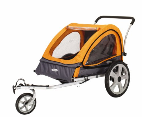 (InStep Quick-N-EZ Double Seat Foldable Tow Behind Bike Trailers, Converts to Stroller/Jogger, Featuring 2-in-1 Canopy and 16-Inch Wheels, for Kids and Children, Orange)