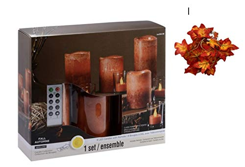 Pillar Pumpkin (Flameless Candles Battery Operated Candles Bundle, 8 Amber Real Wax Pillar Pumpkin Spice Scented LED Candles with 10-Key Remote + 6 Ft Maple Leaf Garland)