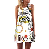Fvjikne Women Sleeveless Floral Print Dress Summer Casual Chiffon Dress Mini Shift Dress Picture color3 M