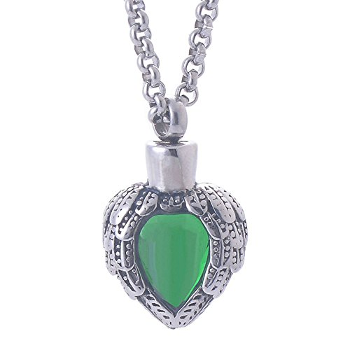 Price comparison product image Aooaz Green Heart Emerald Cremation Jewelry Stainless Steel Urn Necklace For Ashes Keepsake Memorial