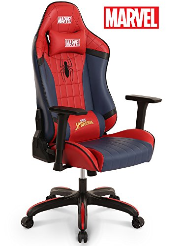 Cheap Licensed Marvel Premium Gaming Racing Chair Executive Office Desk Task Computer Home Chair : High Back Recliner w/ Ergonomic Head Rest Lumbar Support, Neo Chair (Spider-Man, Red)