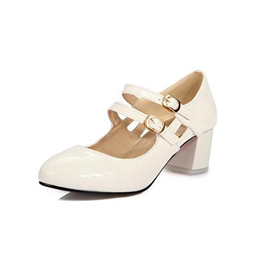 VogueZone009 Toe Women's Round Shoes PU Buckle White Closed Pumps Solid Kitten Heels EqqrIdFw