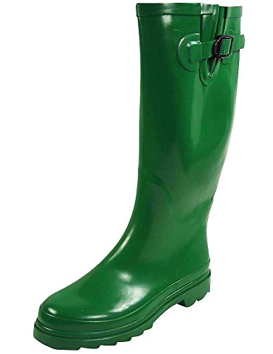 Sunville Women's Ditsy Dots Rubber Rainboot and Gardenboot,8 B(M) US,Solid Green ()