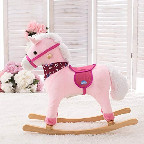 TGETBTTSR Rocking Horse Children's Plush Rocking Horse Wood with Music Rocking Chair Toy 1-4 Years Old Gift, 40KG Capacity, Kids Traditional Toy Rocking Chair (Rocking Horses Traditional Wooden)
