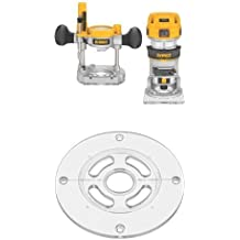 DEWALT DWP611PK 1.25 HP Max Torque Variable Speed Compact Router Combo Kit with LED's w/ DNP613 Round Sub Base for Compact Router