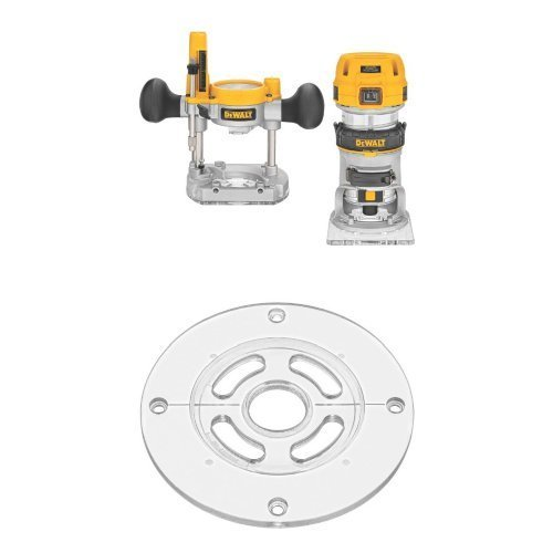 DEWALT DWP611PK 1.25 HP Max Torque Variable Speed Compact Router Combo Kit with LEDs w/ DNP613 Round Sub Base for Compact Router