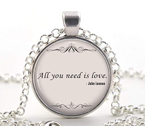 John Lennon Quote Necklace, The Beatles Music Song Lyrics Pendant, Romantic Jewellery Gift Idea for Her
