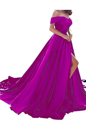 Satin Prom Gown - Homdor Split Off Shoulder Prom Evening Dress for Women A-Line Satin Formal Gown Fuchsia Size 16